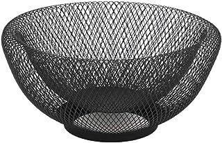 JHY DESIGN ダブルメッシュ 金属製 25cm幅 モダンなかご カゴ ホルダー 皿 収納 お菓子・収納かご ボール(ブラック)