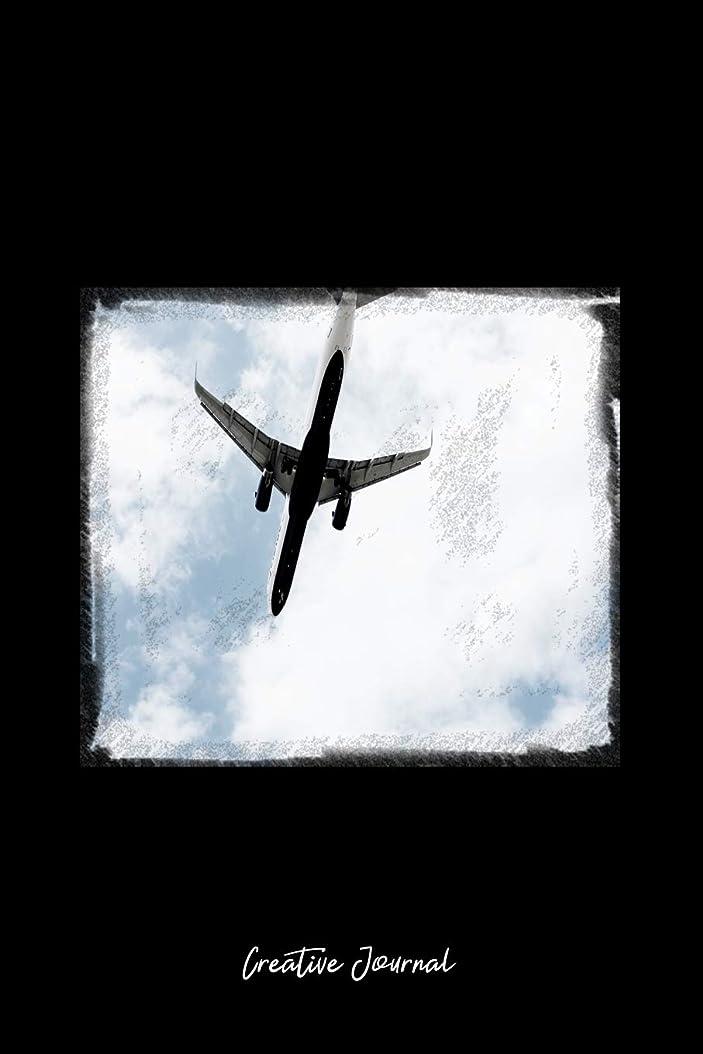 悪の生まれ冷笑するCreative Journal: Dot Grid Journal - Airplane Airline Travel Trip Blue Sky - black Dotted Diary, Planner, Gratitude, Writing, Travel, Goal, Bullet Notebook - 6x9 120 pages
