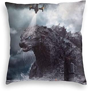Timomo Go-Shop Pillowcase Ultra Comfort Velvet Throw Pillow Covers Fade Resistance, Godzilla Big Monsters in The Deep Ocean, Colorful Zippered Cushion Covers for Summer Christmas Car 18x18 Inch