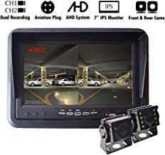 AHD Car Backup System with DVR 7 inch IPS Monitor with Rear & Front View Camera Dual Recording for Truck Bus Trailer Motorhome Caravan Camper Surveillance 4-PIN Aviation Plug 12V-24V Night Vision