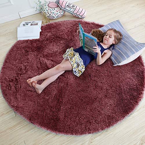 QUANHAO Alfombra de Terciopelo esponjosa súper Suave para Interiores, Linda Alfombra de Dormitorio esponjosa, Adecuada para cojín de sofá de baño (Vino Tinto, 120x120cm)