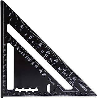 7インチ 三角スクエアルーラー 三角定規ルーラー アルミニウム合金 黒酸化ルーフィング三角アングル分度器 コンビネーションスクエア 90度45度 精密測定ツール クリアスケール 読みやすい 木工用 262 x 185 x 185mm(公制)