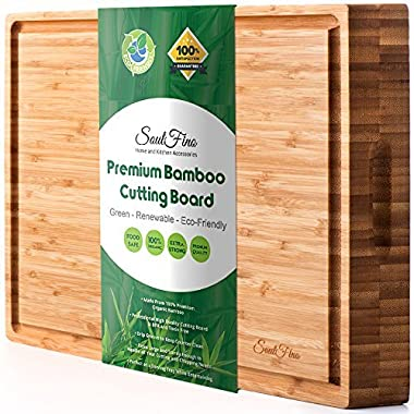 PREMIUM Bamboo Cutting Board & Professional Heavy Duty Butcher Block w/Juice Groove - Extra Large (17 x13 x1.5 ) Antibacterial, Organic, End Grain Chopping Block. Ideal Serving Tray for Meat & Cheese