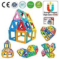 【Giocattoli divertenti】: giocattolo magnetico può avere molte forme, può essere combinato in molti modelli, Sviluppano l'immaginazione dei bambini, la creatività e la mente. Totale 42 pezzi, 22 Triangolare, 20 Quadrato. 【Giocattoli educativi】: impara...