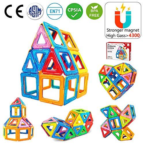 Jasonwell Bloques de Construcción Magnéticos para Niños 42 Piezas Bloques Magnéticos 3D Juguetes Construcción Magnéticos Imanes Regalos y Juego Magnéticos Creativo y Educativo de 3 4 5 6 7 8 Años