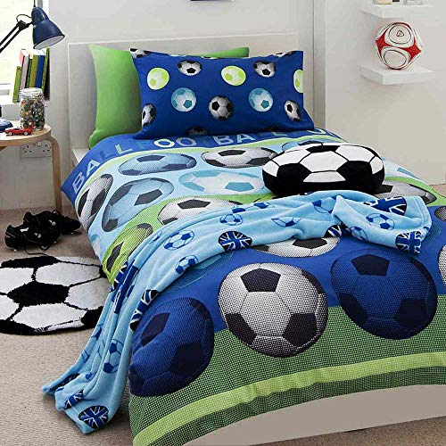 Juego de funda de edredón para cama individual, diseño de fútbol, color azul