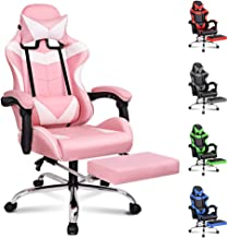 ALFORDSON Gaming Chair Racing Chair Executive Sport Office Chair with Footrest PU Leather Armrest Headrest Home Chair in P...