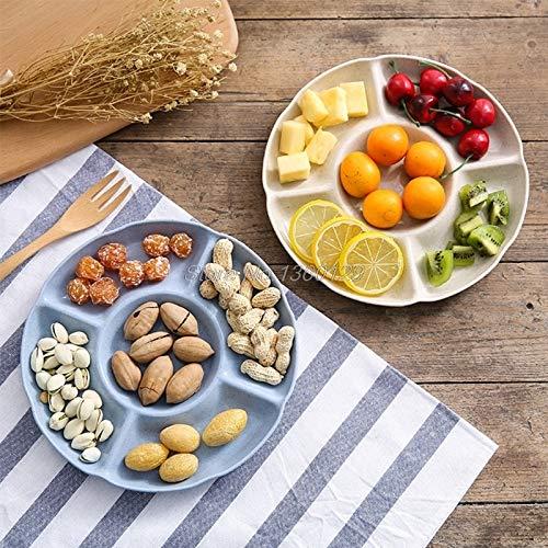 Plato multifunción de plástico para Frutas, Bandeja para postres, Plato para Aperitivos, 6 Compartimentos (Color...