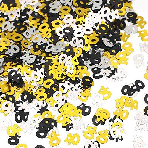 APERIL 40. Geburtstag Konfetti, Schwarzgold Silber Nummer 40 Konfetti, 30g Tischkonfetti für Geburtstag Deko Hochzeit Jahrestag-Nummer 40