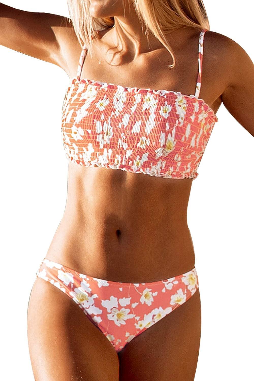 CUPSHE Women's Floral Smocked Bandeau Bikini Sets