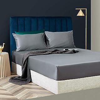 N / A Hypoallergénique Silencieux Drap Housse,Drap de lit King Size Drap de lit en Satin de Soie de Coton Simple Couvre-li...