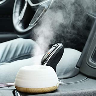 iKiKin Mini Portable Car Humidifier, USB Cool Mist Desk Air Humidifier 200ML with Night Light for Car, Travel, Office, Home