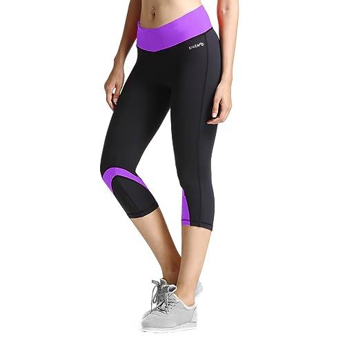 Baleaf Womens Yoga Workout Capris Leggings Side Pocket for 5.5 Mobile Phone