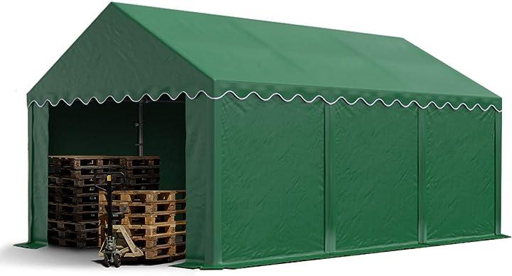 Tendone deposito 4 x 6 m pvc ca. 500g/m² verde scuro gazebo magazzino tenda capannone toolport B01M0AAU0C
