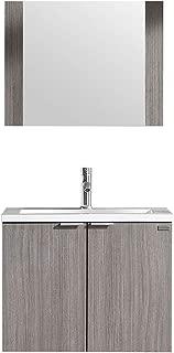 WONLINE Modern Bathroom Vanity, Wall Mounted Cabinet Wood with Ceramic Sink, Mirror
