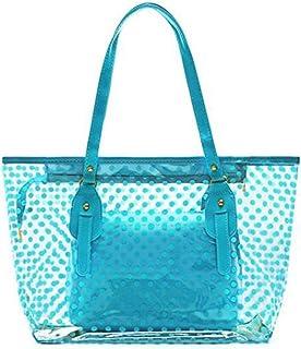 STONG Waterproof Clear Beach Tote Bags Transparent PVC Zipper Polka Dot Beach Shoulder Handbag with Interior Pouch for Home Office Beach (Blue)