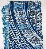 Goodforgoods Decoración de Mandala y Elefantes para la Playa, Piscina, tapicería Cubre Sofa, Mesa sillón, decoración Pared. 100% algodón 210x240 cm. (Blanco y Azul Marino, 210x240 cm)