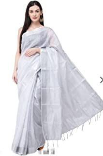 HAIDER ALI AND SONS Women's Tissue Linen Zari Dobi Border Saree with Running Blouse (Silver)