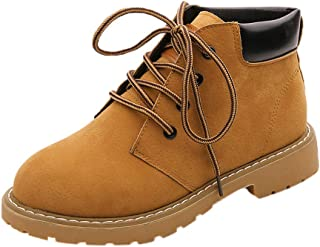 Winter Ankle Boots Women Shoes,70s Chukka Desert Martin Lace Up Insoles Mid Cap High Block Heel Platform Suede (Color : Yellow, Size : 5 UK)