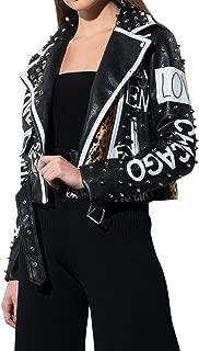 Women's Studded Leopard Panel All Over Print Cropped Belt Hem Faux Leather Biker Moto Jacket