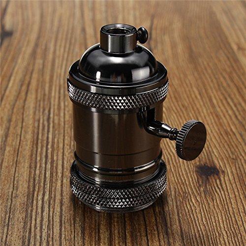 MASUNN E26/E27 Retro Vintage Edison Lampadina Industriale Portalampada con Interruttore-Nero