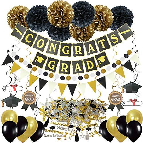 Zerodeco Abschlussdekorationen, Schwarz und Gold Congrats Grad Banner mit Seidenpapier Pom Poms Dreieckige Wimpel Girlande Spiralen Dekoration Abschluss Konfetti und Luftballon