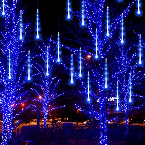 FUNPENY Meteor Shower Rain Lights, 288 LED Christmas Lights Icicle Snow Falling Christmas Lights Outdoor Raindrop Lights, 30cm 8 Tubes Xmas Tree Holiday Decoration (Blue)