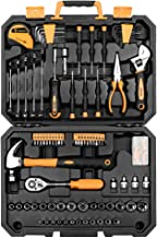 DEKOPRO 128 Piece Tool Set-General Household Hand Tool Kit, Auto Repair Tool Set, with Plastic Toolbox Storage Case