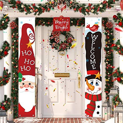 3 Pezzi Decorazioni Strscione Natale, Segno Portico Welcome Rosso di Buon Natale Merry And Bright Banner Porta di Babbo Natale Pupazzo di Neve da Appendere per Festa a Tema di Natale Invernali