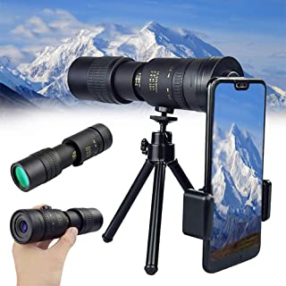 4K 10-300X40mm Super Telephoto Zoom Monocular Telescope High Power Dual Focus Optics Monoculars with Clip and Tripod for O...