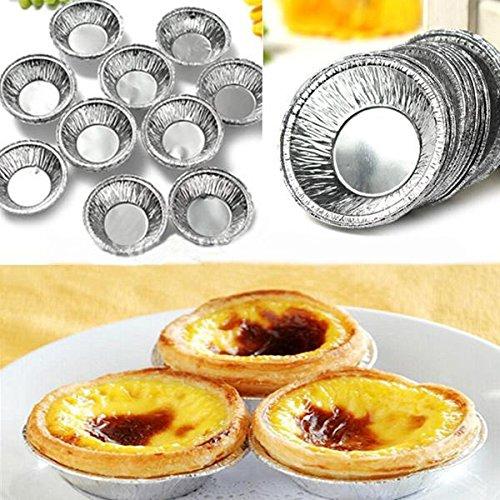 Bazaar 125pcs papier d'aluminium en argent rond disponible faisant cuire la moisissure de tarte de gâteau de tasses de biscuit au four