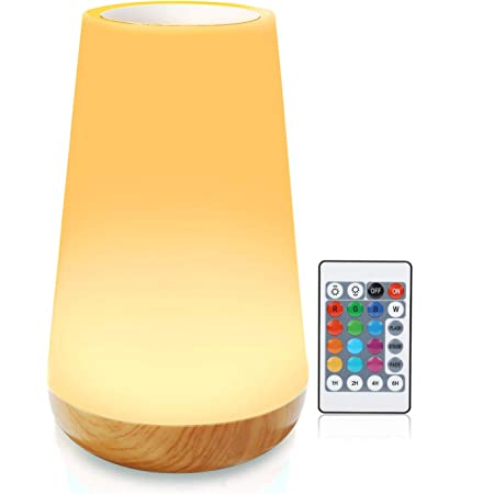 F&Y Night Light, Bedside Bedroom Lamp, Small Led Table Lamps, Smart Touch Control Lights, Battery Powered, Wireless Rechargeable lamp (Dimmable 3 Level Warm White Light & Six Colour Changing RGB)