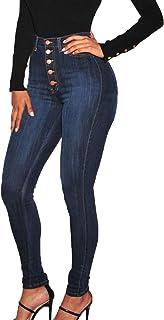 HINK Pantalones de Talla Grande, Pantalones Vaqueros elásticos de Cintura Alta de Cintura Alta para Mujer