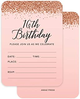 Andaz Press Blush Pink and Rose Gold Glitter Elegant Party Collection, 5x7-inch Invitations with Envelopes, 16th Birthday Sweet 16, 24-Pack, Double Sided, Heavy Card Stock, Includes Envelopes