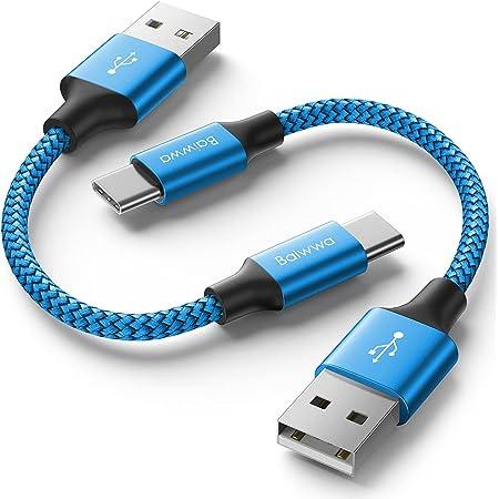 Câble USB Type C Court [0.3m/30cm, Lot de 2], Baiwwa Solides Cable USB C 3A Chargeur Rapide Nylon Tressé Phone Cordon Compatible avec Samsung Galaxy S10 S9 S20 Note 10 9 8 Plus, A40 A50 A70 A51 A71