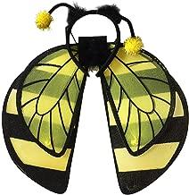 KODORIA 3pcs Bee Cosplay Costume with Bumble Bee Wings and Headband for Kids Honeybee Fancy Dress Up Yellow