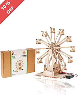 Wooden Ferris Wheel Building Kit   Educational DIY STEM Toys for Boys and Girls   3D Working Construction Model Kits   Science Kits for Kids, Teens & Adults