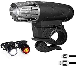 مجموعة أضواء دراجة مع ضوء امامي بقوة 300 لومن يشحن عن طريق منفذ يو اس بي ويملك 4 انماط عمل وضوئين خلفيين من ثيغلز