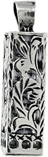 Sterling Silver Mezuzah Necklace Floral Pattern Cuboid Shape 15/16 inch with 1mm Box Chain 16-30 inch