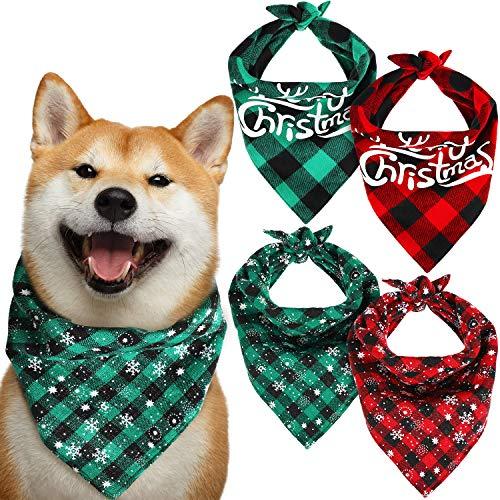 4 Piezas Bandanas de Navidad de Perros Bufanda Clásica de Búfalo a Cuadros con Copo de Nieve de Mascotas Baberos de Perros Triángulo Reversible de Merry Christmas