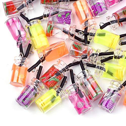 Cheriswelry 20 colgantes de té con burbujas de imitación para botellas de cristal, colores al azar para hacer llavero de joyería, agujero: 1,8 mm.