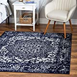 Rugs.com Arlington Collection Rug – 8 Ft Square Navy Blue Medium-Pile Rug Perfect for Living Rooms, Kitchens, Entryways