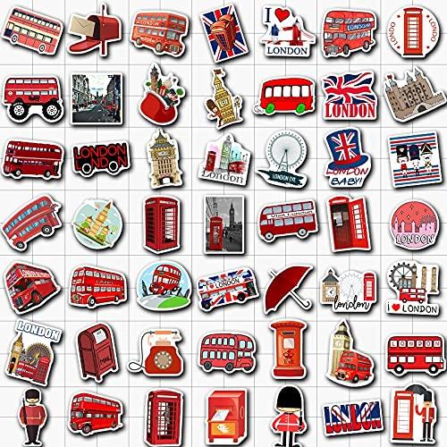 Londres autobús rojo cabina de teléfono pegatinas de punto de referencia para niños, adolescentes, adultos, equipaje, portátil, bicicleta, monopatín, suministros 50 unidades