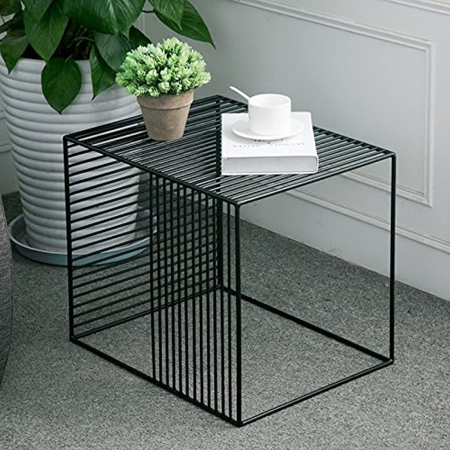 WGX Square Wrought Iron Coffee Table Outdoor Iron End Table Nesting Side Tables Plant Stand, Black, Set of One (B L19xW14.5xH15.7)