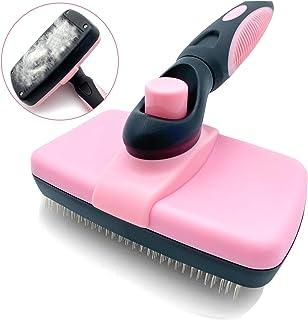 DKPlus ペット スリッカーブラシ 毛取り ワンプッシュで抜け毛除去 犬 猫用 セルフクリーニング ブラシ (ピンク)