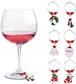 Iusun Christmas Wine Glass Decoration Charms Cup Ring Table Decor for Wedding Party Holiday New Year Home Office Supplies Gift