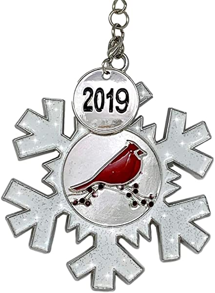 2019 Dated Christmas Ornament White Glittered Snowflake With Cardinal Design Memorial Ornament