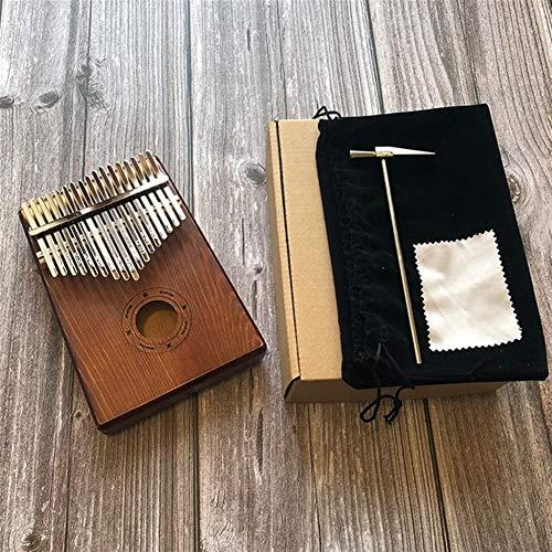 Kalimba, Daumenklavier Geben Sie New 17 Keys Kalimba Afrikanische Massivholz-Daumen-Finger-Piano Sanza Mbira Calimba spielen mit Gitarre Holz Keyboard Musikinstrumente (Color : OM Coffee)