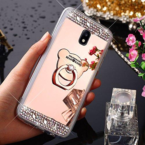 HandyHülle für Samsung Galaxy J5 2017 J530, Silikon Hülle Spiegel für Samsung Galaxy J5 2017 J530, Uposao [Mit Bär Glänzend Glitzer Kristall Strass Diamanten Handyhalterung Handyring Ständer] - Ultra