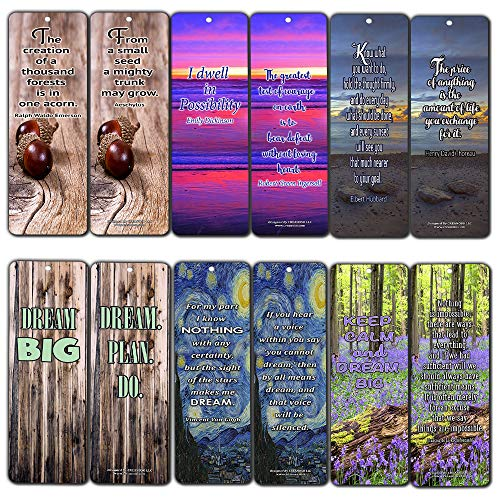Creanoso Inspirational Quotes Bookmarks (60-Pack) - Dream Big Qoutes - Positive Wisdom Motivational Sayings Gifts for Men Women Adults Teens Kids Boys Girls Entrepreneur Office